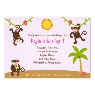 Girls Monkeying Around 7x5 Invitation