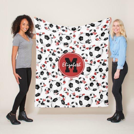 girls monogrammed soccer balls and hearts pattern fleece blanket