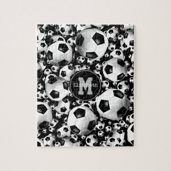 Girl's monogrammed soccer balls pattern jigsaw puzzle