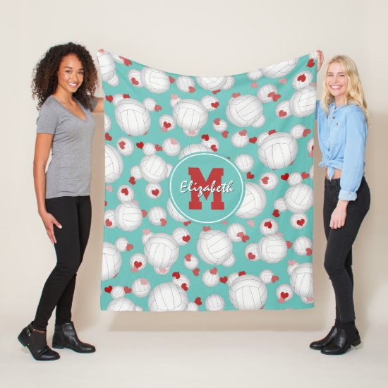 girls monogrammed volleyballs and hearts pattern fleece blanket