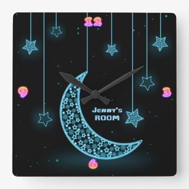 Girls Moon Stars NEON Light Style Personalized Square Wall Clock