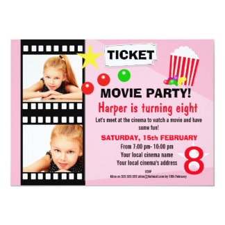 Girls Movie Birthday Party Invitation