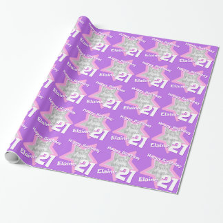 Girls name 21st add your photo purple star pattern gift wrap paper