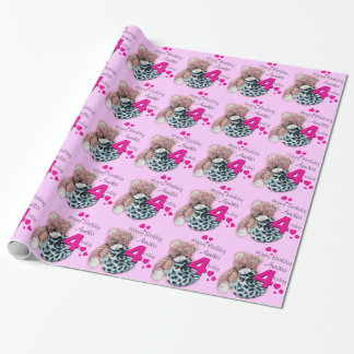 Girls name age 4 soft toys birthday patterned wrap wrapping paper