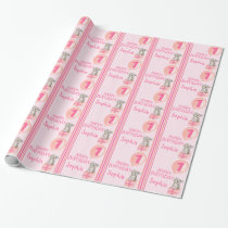 Girls name age cute koala birthday balloon wrap wrapping paper