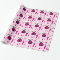 Girls name age ladybug birthday patterned wrap wrapping paper