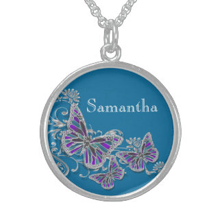 Girls name butterfly wedding favor sterling silver necklace