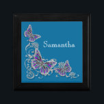 """Girls name elegant butterfly personalize jewelry box<br><div class=""""desc"""">An Elegant, classy and stylish design of FAUX butterflies with wings in shades of lapis, azure, """"royal blue"""", lavender, lilac and mauve are set against a silver flower swirl. CUSTOMIZE IT - Change the wording; the background color and feel free to add or delete templates by using the """"customize it""""...</div>"""