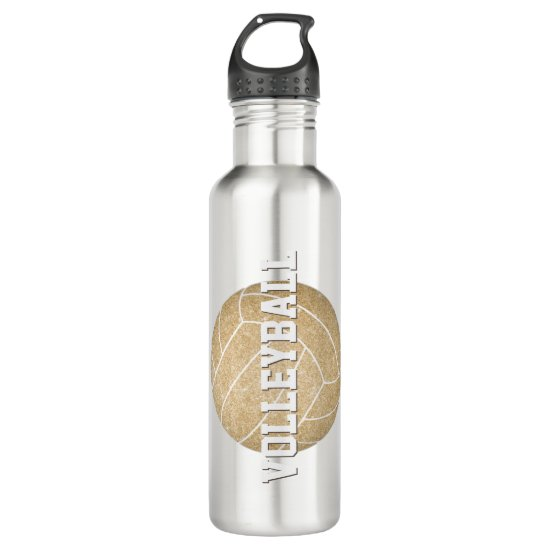 girl's name jersey number custom gold volleyball stainless steel water bottle