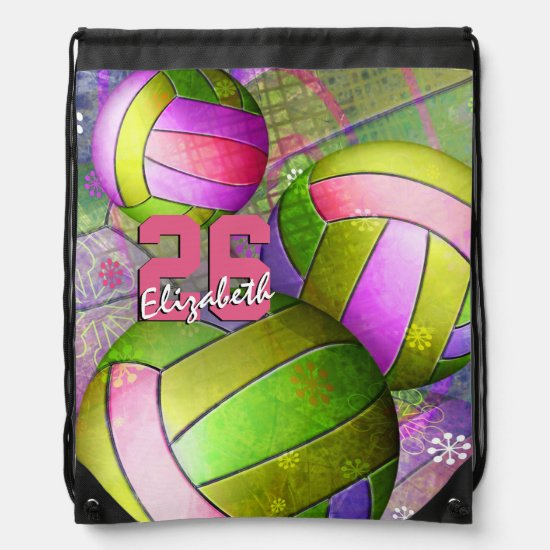 Girls Name Jersey Number Girly Volleyball Drawstring Bag