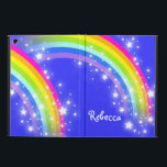 """Girls name rainbow pink blue ipad air powis case<br><div class=""""desc"""">Perfect to protect your girls new ipad air. Add your name up to 7 letters to this folio style ipad case. Currently reads Rebecca. This original rainbow graphic case is designed by Sarah Trett.</div>"""
