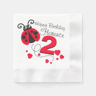 Girls named 2nd birthday red ladybug napkins