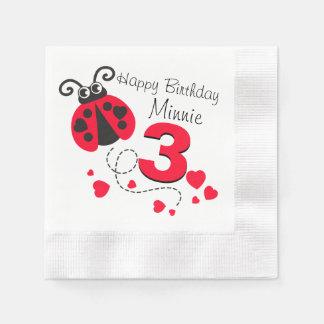 Girls named 3rd birthday red ladybug napkins