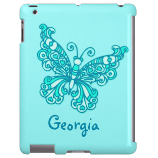 Girls named aqua green butterfly ipad case