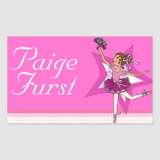 Girls named ballerina pink ballet id label sticker