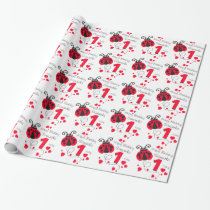 Girls named first birthday ladybug patterned wrap wrapping paper