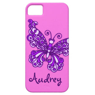 Girls named purple pink butterfly iphone 5 case