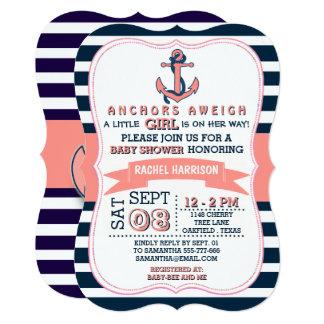 Girl's Nautical Anchor Baby Shower Invitations