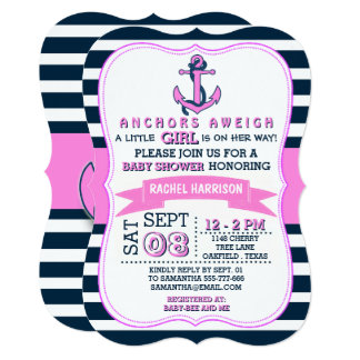 Girlu0027s Nautical Anchor Baby Shower Invitations