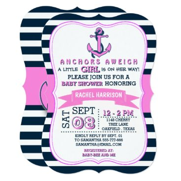 Beach Themed Girl's Nautical Anchor Baby Shower Invitations