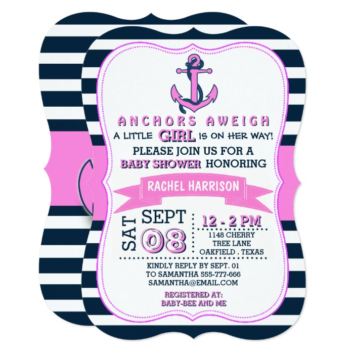 girl 39 s nautical anchor baby shower invitations zazzle
