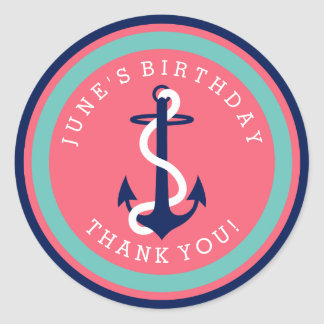 Girls Nautical Anchor Stickers Pink Teal Navy Blue