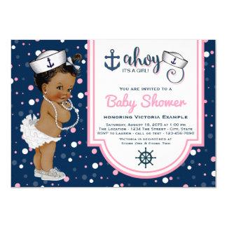 Girls Nautical Baby Shower African American Card