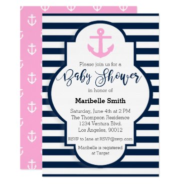 Beach Themed Girls Nautical Baby Shower Invitation