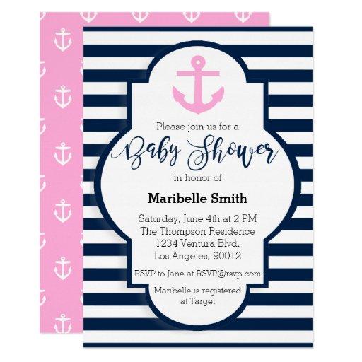 Girls Nautical Baby Shower Invitation