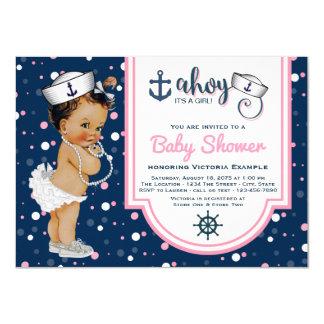 Girls Nautical Baby Shower Invitations