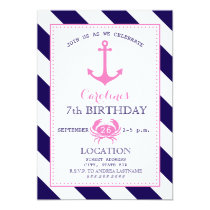 Girl's Nautical Birthday Party - Anchor   Crab Card