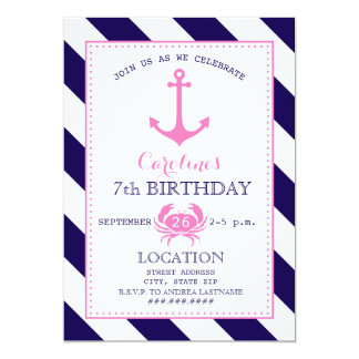 Girl's Nautical Birthday Party - Anchor + Crab 5x7 Paper Invitation Card