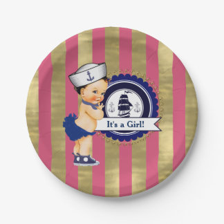 Girls Nautical Navy Blue Pink Gold Baby Shower Paper Plate
