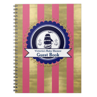 Girls Nautical Pink Blue Baby Shower Guest Book