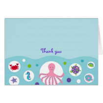 Girls Nautical Under the Sea Thank You Note Cards