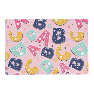 Girls Navy and Pink ABC Alphabet Pattern Placemat