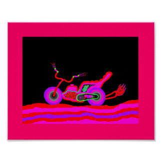 girls neon motorcycle poster