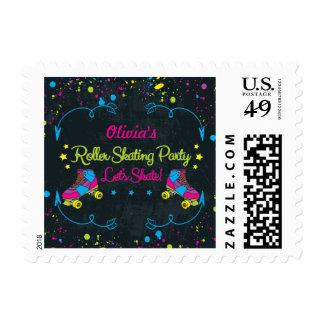 Girls, Neon Skate Birthday Party Stamp