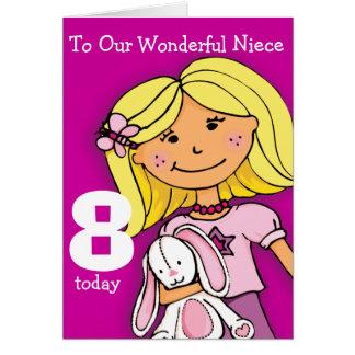 Girls Niece 8th birthday card girlie purple Greeting Card