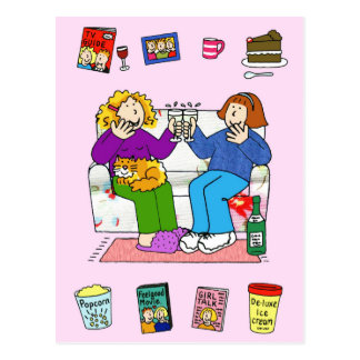 Girl's night in, best friends. postcard