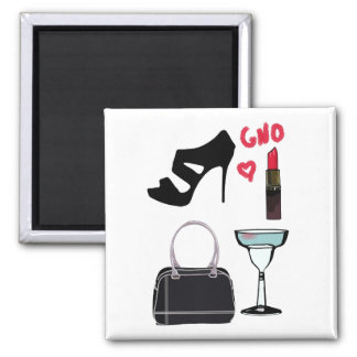 """""""Girl's Night Out"""" 2 Inch Square Magnet"""