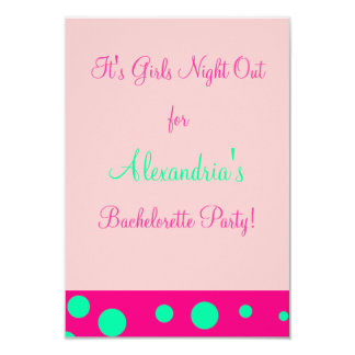 """Girls Night Out/Bachelorette Party"" 3.5"" X 5"" Invitation Card"