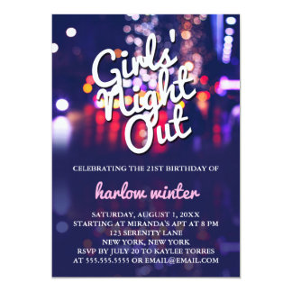 Girls' Night Out Birthday Party Card