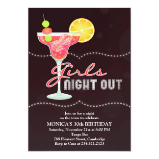 "Girls Night Out Birthday Party Invitation 5"" X 7"" Invitation Card"