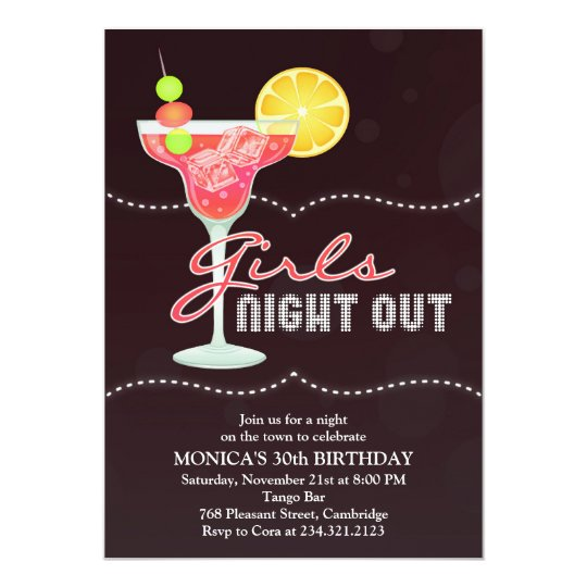 girls night out birthday party invitation