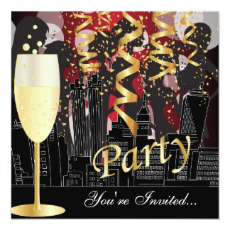 Girls Night Out Birthday Party | Metallic Red Card