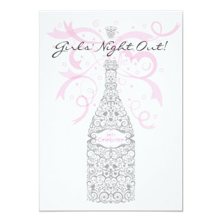 Girls' Night Out Champagne Bachelorette Party Custom Invites