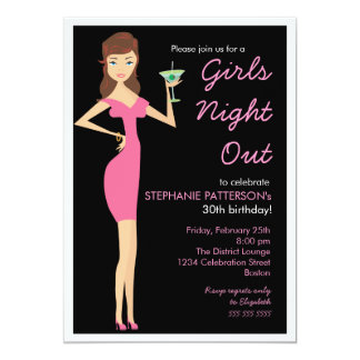 Girls Night Out Cocktail Diva Birthday Party Card