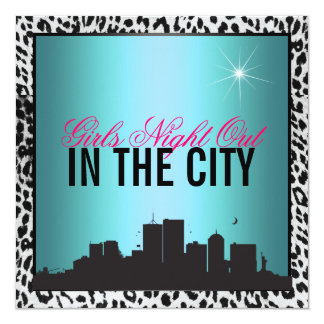 Girls night out in the city, Birthday 5.25x5.25 Square Paper Invitation Card