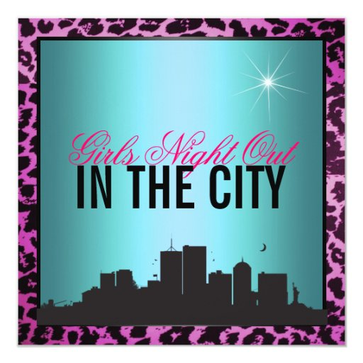 Girls night out in the city 5.25x5.25 square paper invitation card